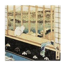 Japanese painting of cat at the window Tile Coaste