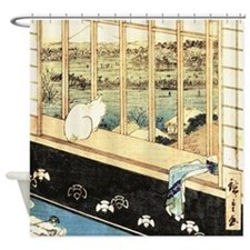Japanese painting of cat at the window Shower Curt