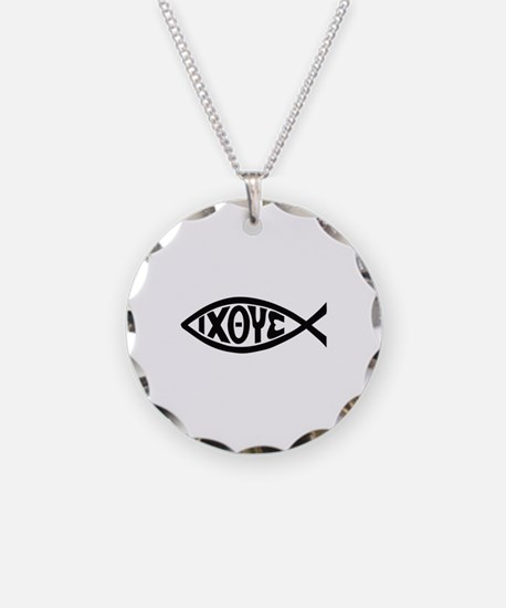 ICHTHUS FISH Necklace Circle Charm