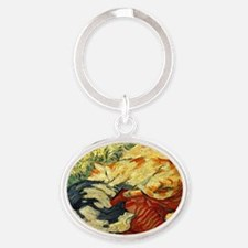 Impressionist Painting of cats Keychains