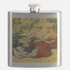 Impressionist Painting of cats Flask