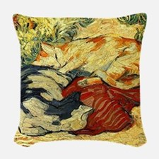 Impressionist Painting of cats Woven Throw Pillow