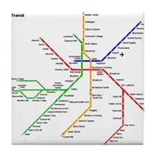 Boston Rapid Transit Map Subway Metro Tile Coaster