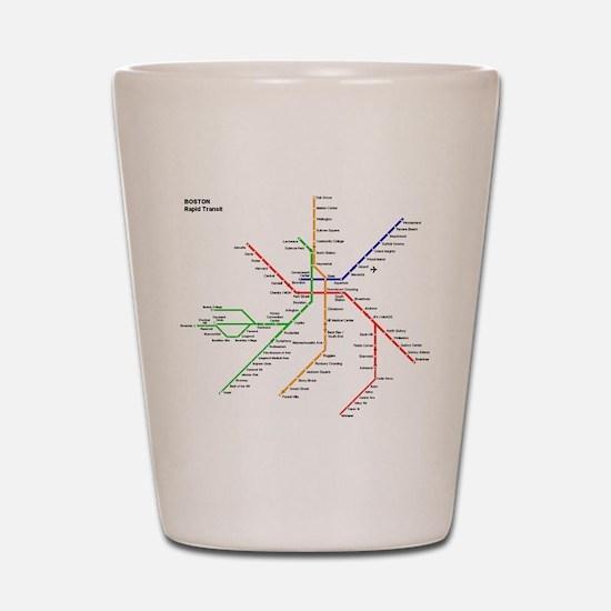 Boston Rapid Transit Map Subway Metro Shot Glass