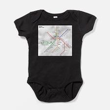 Boston Rapid Transit Map Subway Metr Baby Bodysuit