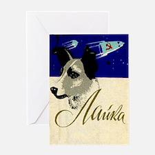 Laika Dog Cosmonaut USSR Space Vint Greeting Cards