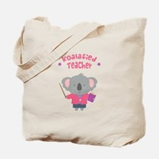 Cute Pun Koala Bear Koalafied Teacher Tote Bag