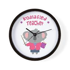 Cute Pun Koala Bear Koalafied Teacher Wall Clock