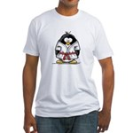Martial Arts red belt penguin Fitted T-Shirt