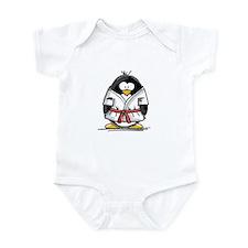 Martial Arts red belt penguin Infant Bodysuit
