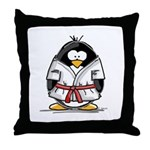 Martial Arts red belt penguin Throw Pillow