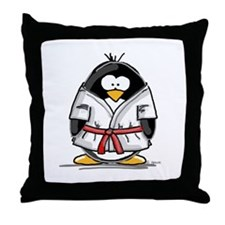 Martial Arts red belt penguin Throw Pillow