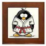 Martial Arts red belt penguin Framed Tile