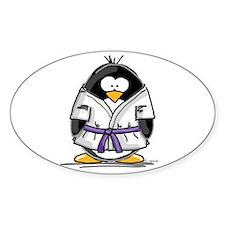 Martial Arts purple belt peng Oval Decal