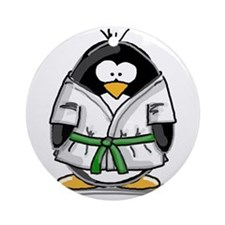 Martial Arts green belt pengu Ornament (Round)