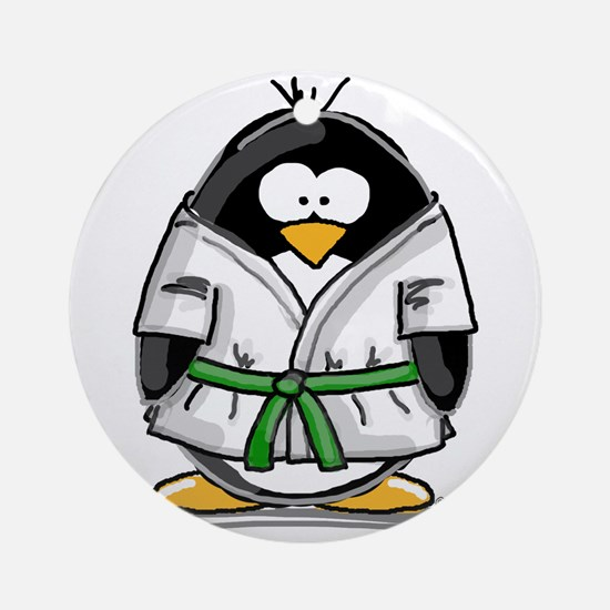 Martial Arts green belt pengu Ornament (Round)