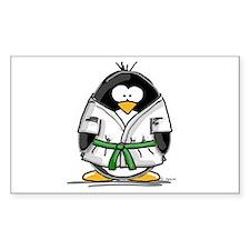Martial Arts green belt pengu Sticker (Rectangular