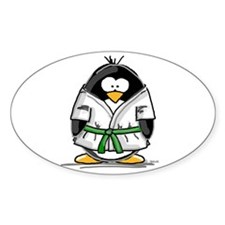 Martial Arts green belt pengu Oval Decal