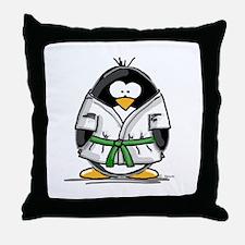 Martial Arts green belt pengu Throw Pillow