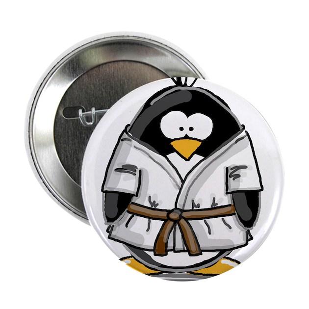 martial arts brown belt pengu button by lilpenguinshop