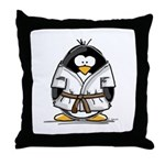 Martial Arts brown belt pengu Throw Pillow
