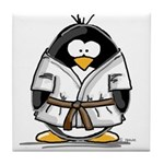 Martial Arts brown belt pengu Tile Coaster