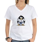 Martial Arts blue belt pengui Women's V-Neck T-Shi