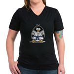 Martial Arts blue belt pengui Women's V-Neck Dark