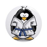 Martial Arts blue belt pengui Ornament (Round)