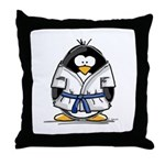 Martial Arts blue belt pengui Throw Pillow