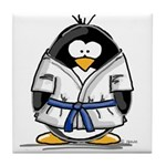 Martial Arts blue belt pengui Tile Coaster