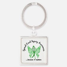 Spinal Cord Injury Butterfly 6.1 Square Keychain
