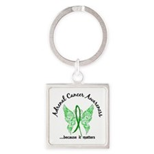Adrenal Cancer Butterfly 6.1 Square Keychain