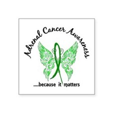"""Adrenal Cancer Butterfly 6. Square Sticker 3"""" x 3"""""""