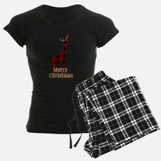 Christmas Plaid Reindeer Giraffe Pajamas