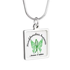 Neurofibromatosis Butterfl Silver Square Necklace