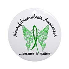 Neurofibromatosis Butterfly 6.1 Ornament (Round)