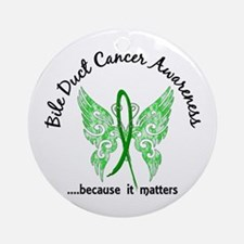 Bile Duct Cancer Butterfly 6.1 Ornament (Round)