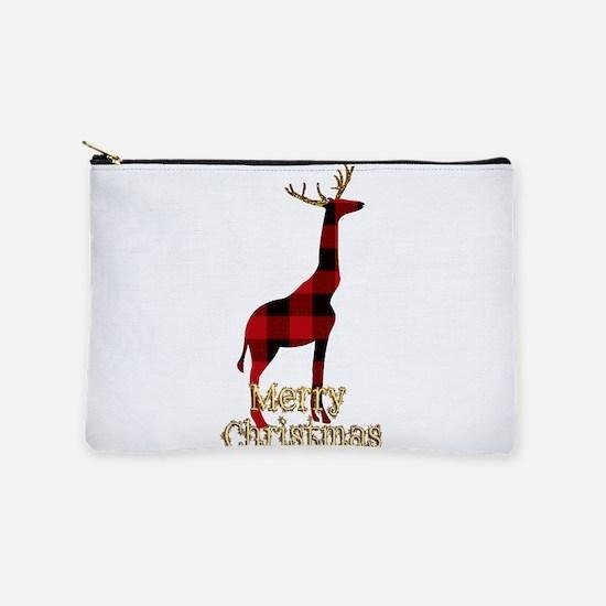 Christmas Plaid Reindeer Giraffe Makeup Pouch