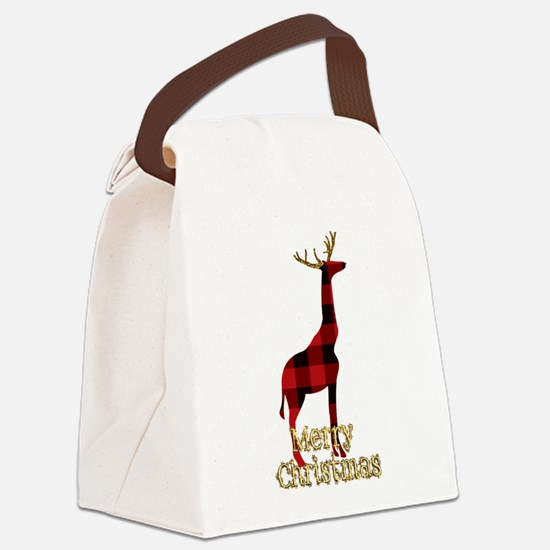 Christmas Plaid Reindeer Giraffe Canvas Lunch Bag