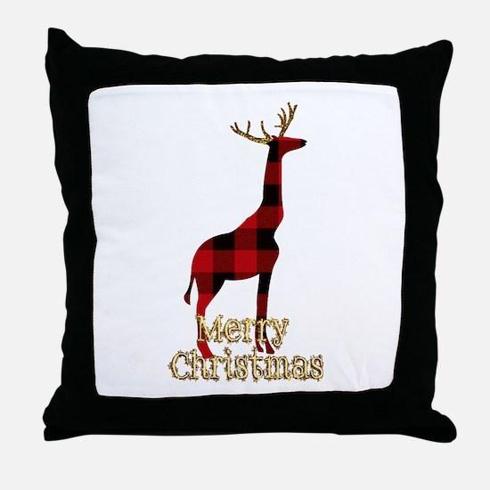 Christmas Plaid Reindeer Giraffe Throw Pillow