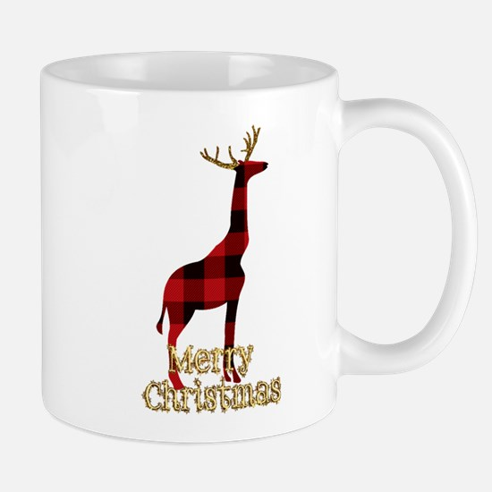 Christmas Plaid Reindeer Giraffe Mugs