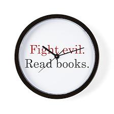 Cute Fight evil read books Wall Clock