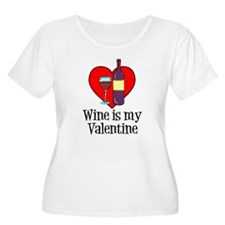 Wine Is My Valentine Plus Size T-Shirt