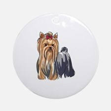 YORKSHIRE TERRIERS Ornament (Round)