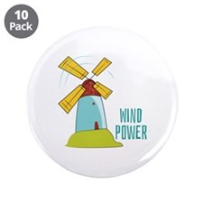 "Windmill Wind Power 3.5"" Button (10 pack)"