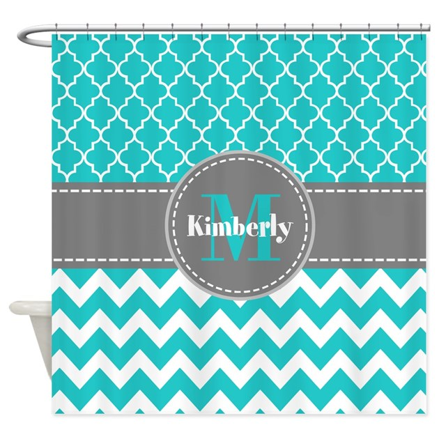 Gray And Blue Chevron Personalized Shower Curtain By