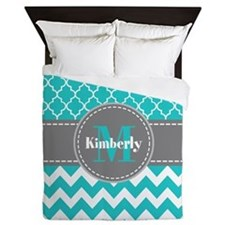 Gray and Blue Chevron Personalized Queen Duvet