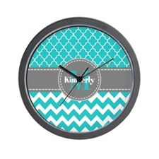 Gray and Blue Chevron Personalized Wall Clock