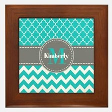 Gray and Blue Chevron Personalized Framed Tile